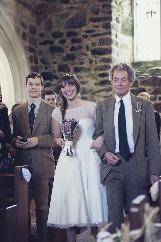 Polka dot wedding dress, dried flower bouquet wedding