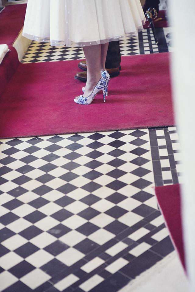 polka dot bride, fish tail braid, floral shoes