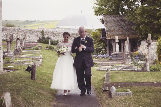 50s style lace wedding dress