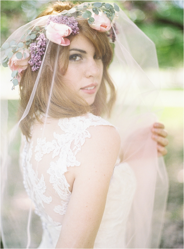 Sareh Nouri bridal gown, flower crown and veil
