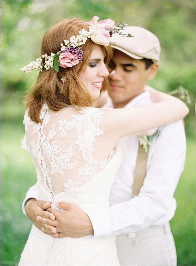 rustic bride and groom