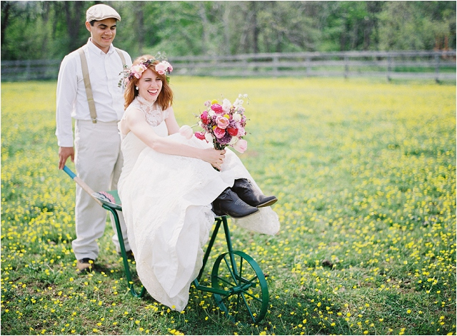 antropologie wheel barrow wedding