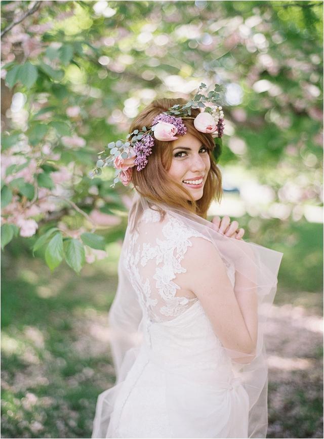 sarah nouri bride with flower crown