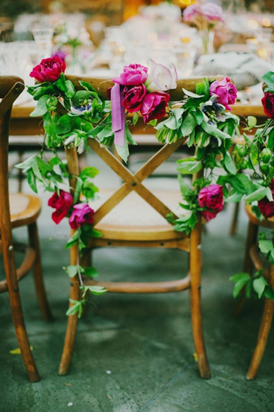 Statement floral wedding chairs