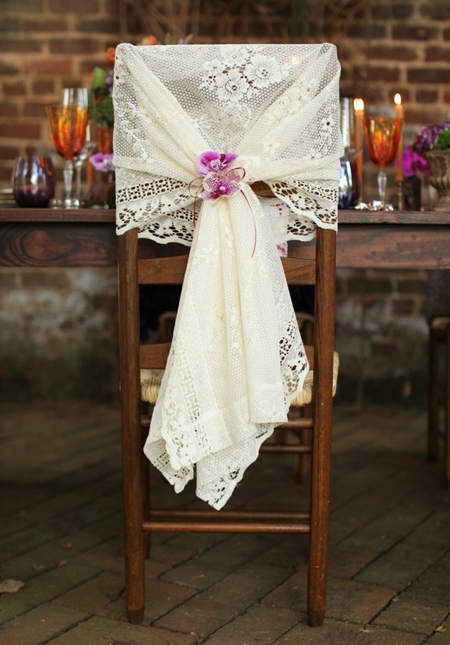 Attrayant Lace Chair Cover And Orchids