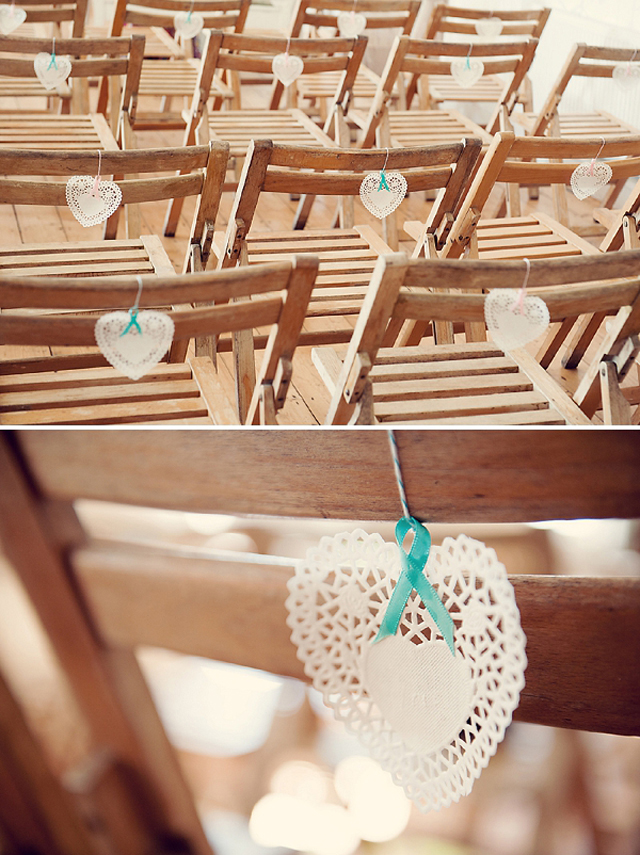 wedding chairs with diy doilies