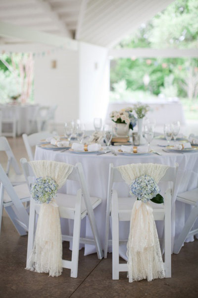 draped fabric and flower chair