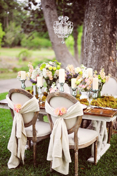 draped material and flower chair cover