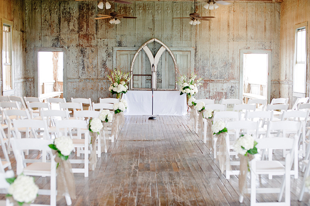 white chairs and hydrangea