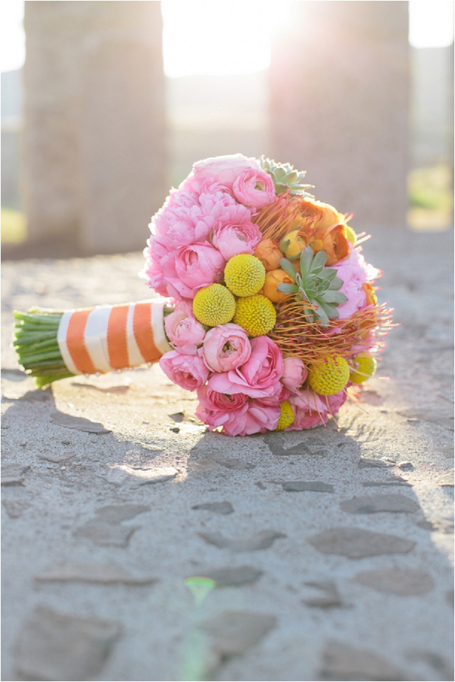Pale Aqua, Pink, Orange and Yellow: Real Wedding