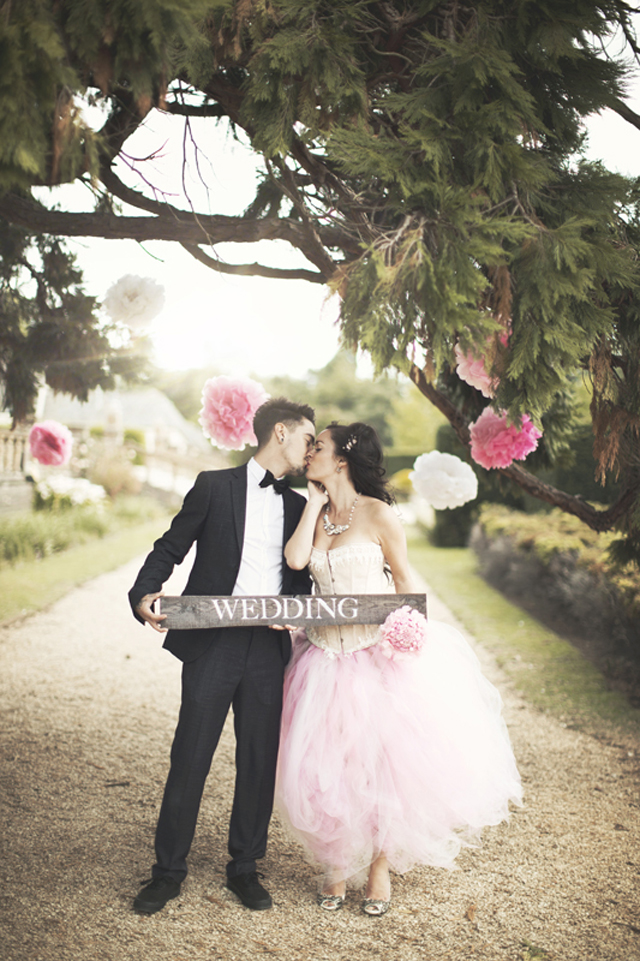 An Alternative, Pink, Black & White Bridal Shoot With Smokin' Hot Couple