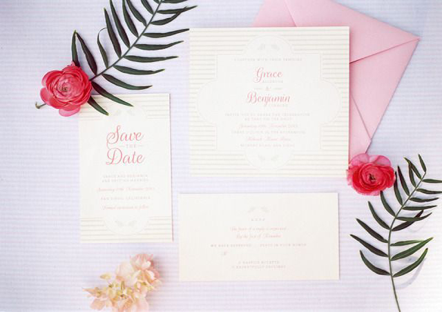 The Palest Of Pinks | Wedding Inspiration: Colours: pale pink invitations