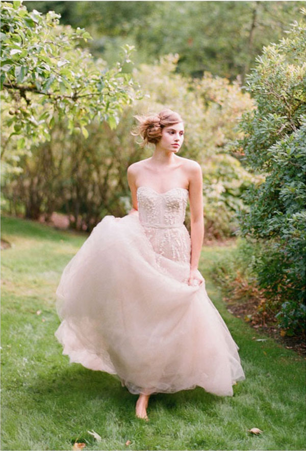 The Palest Of Pinks | Wedding Inspiration: Colours: Pale Pink Wedding Dress