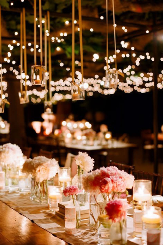 wedding reception ideas: hanging decor