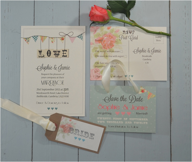 PaperGrace - Country bunting wedding stationery