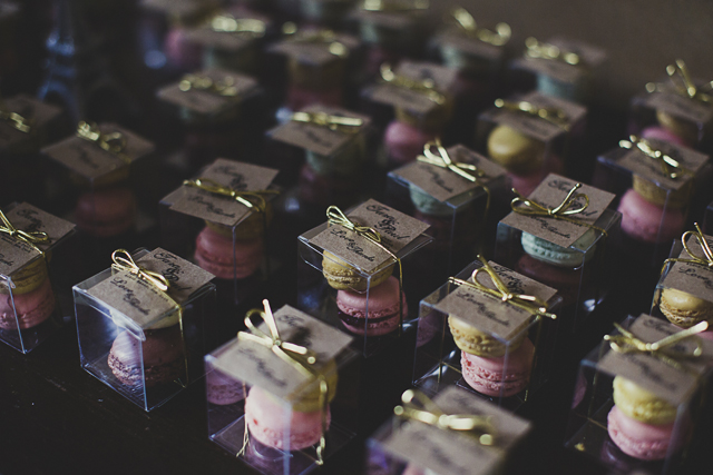 Pastel macaron wedding favours and eiffel tower
