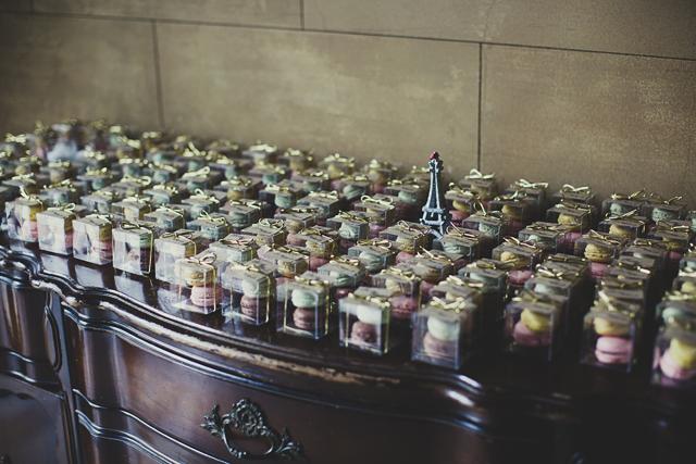 Pastel macaron wedding favours and eiffel tower