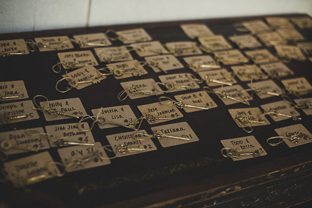 Vintage key name place cards
