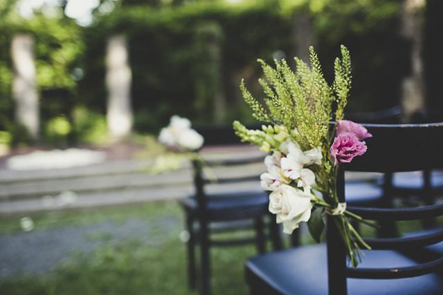 vintage wedding chair flowers