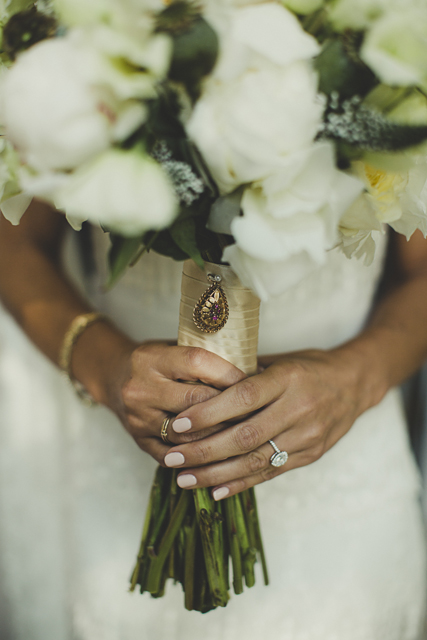vintage locket wedding bouquet