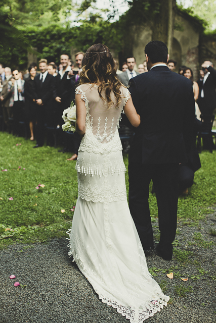 embroidered back of claire pettibone gown, real bride!