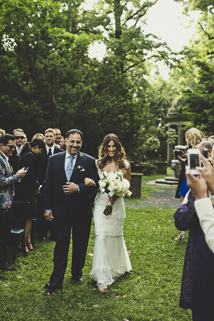 boho vintage bride and father