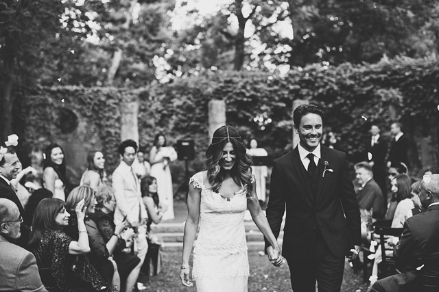 boho vintage bride and groom
