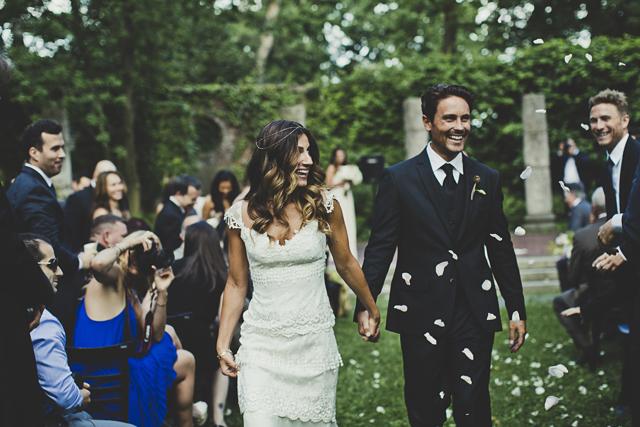 boho vintage bride and groom
