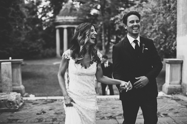 boho vintage bride and husband