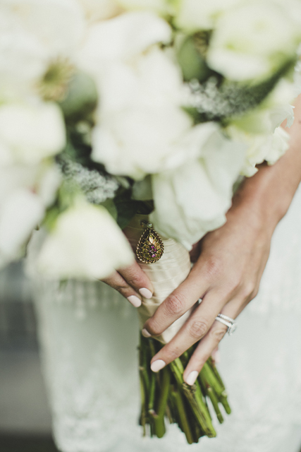 Beautiful vintage charm & locket wedding bouquet