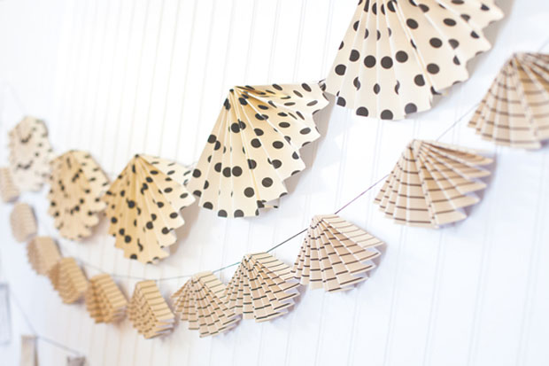 Accordian paper bunting - 30 Amazing Wedding Ceremony & Reception Decoration Ideas