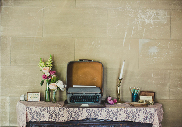 vintage suitcase setting for guest book