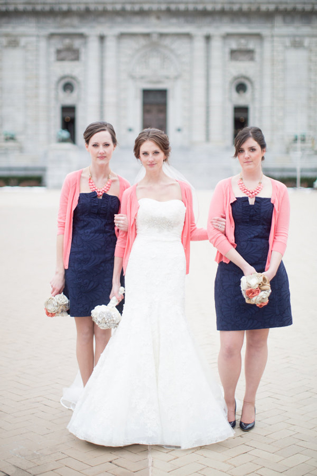 navy bridesmaid dresses look with the pretty coral pink statement necklaces and cardies
