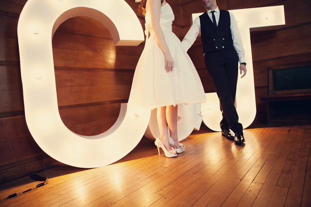 giant lit up wedding letters