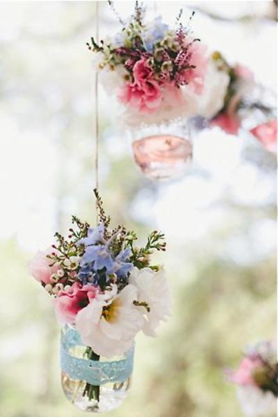 hanging floral jars