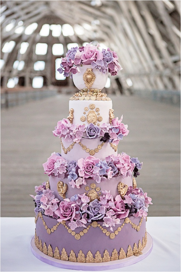 Bold Colours | Radiant Orchid - The Prettiest & Coolest Wedding Cake Trends For 2014