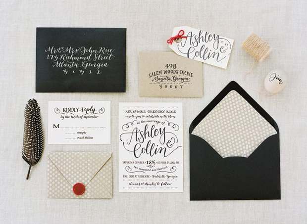 linen and black wedding stationery
