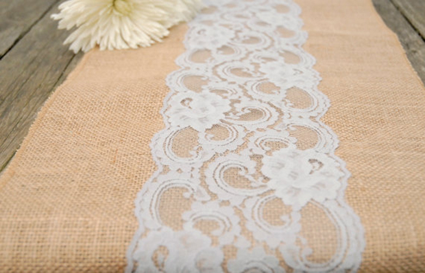 Natural Hessian Lace Runner