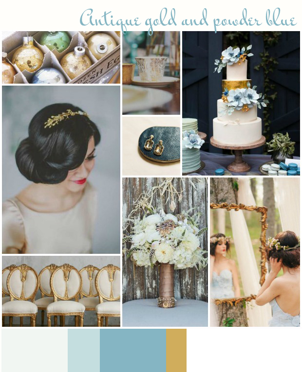 Antique Gold & Powder Blue | Wedding Inspiration: Colour