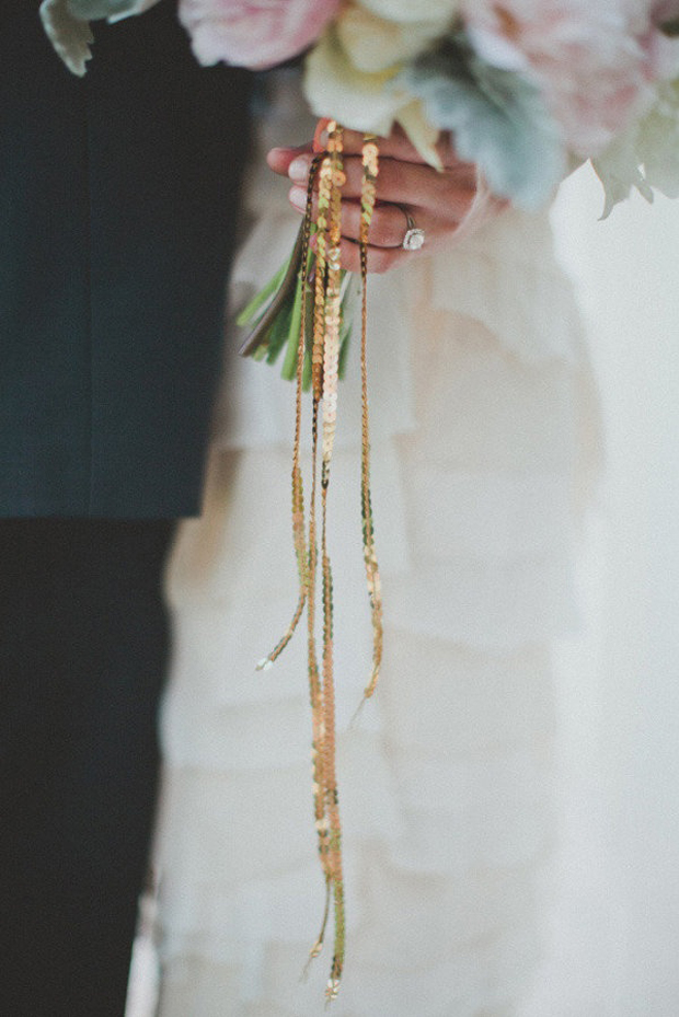 metallic tie of wedding bouquet
