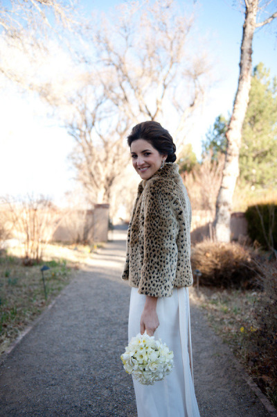Bride in leopard print coat