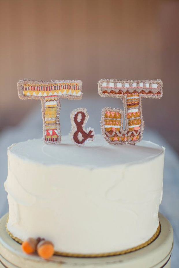 Embroidered initials cake topper