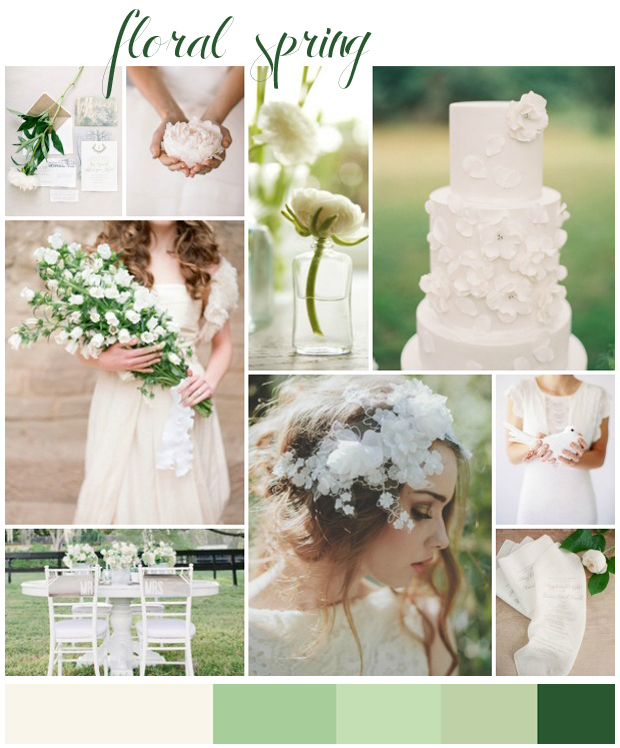 Floral Spring | Wedding Inspiration: White & Green