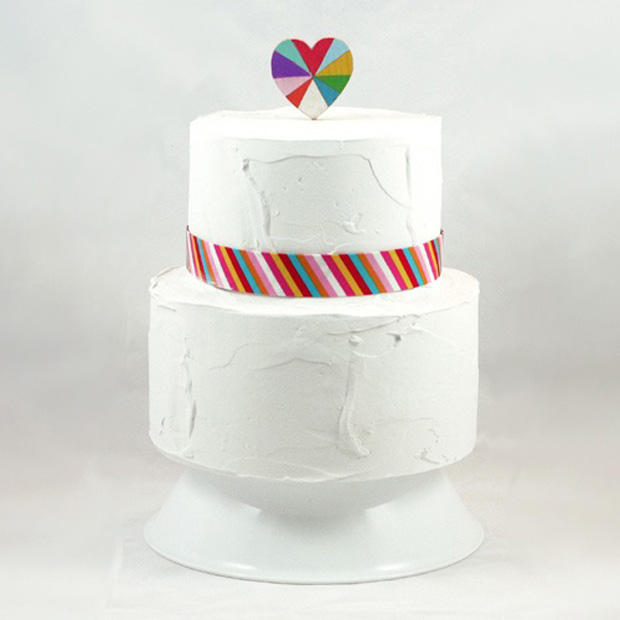 Geometric Wedding Heart Cake Topper