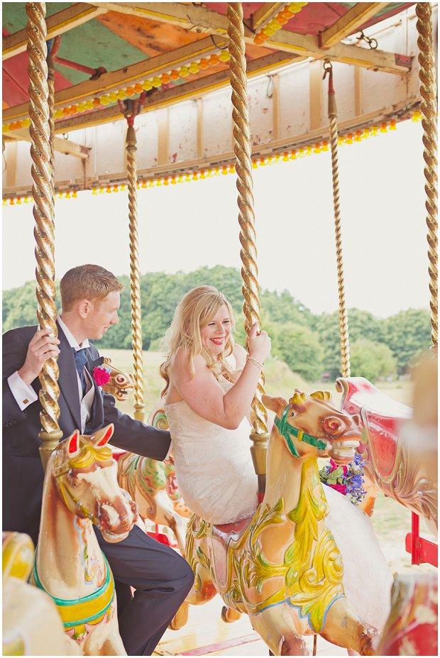 Bride & groom on wedding merry we go round