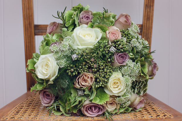 Dusty pink roses and cabbage rose wedding bouquet