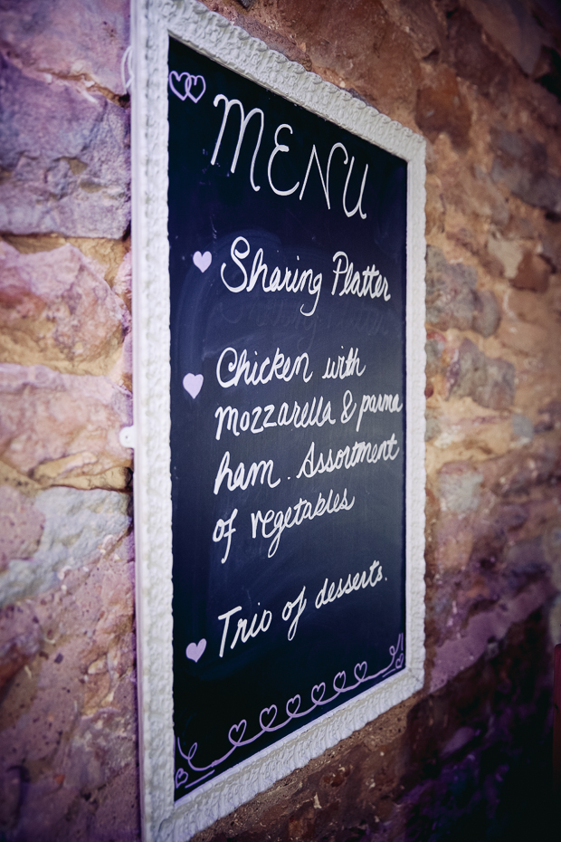 Chalk board wedding menu