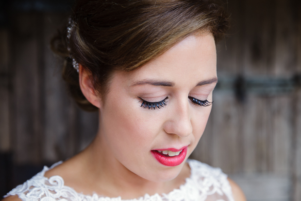 beautiful bride with red lips and long eyelashes