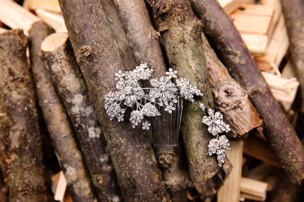 floral sparkling bridal comb with vintage feel