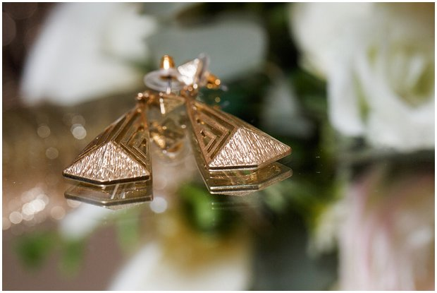 gold art deco bridal earrings